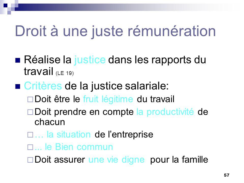 57 Droit à une juste rémunération Réalise la justice dans les rapports du travail (LE 19) Critères de la justice salariale: Doit être le fruit légitime du travail Doit prendre en compte la productivité de chacun … la situation de lentreprise...