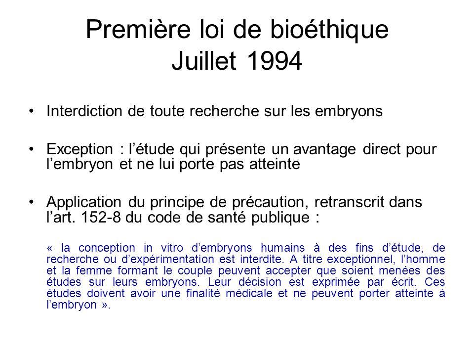 Première loi de bioéthique Juillet 1994 Interdiction de toute recherche sur les embryons Exception : létude qui présente un avantage direct pour lembr