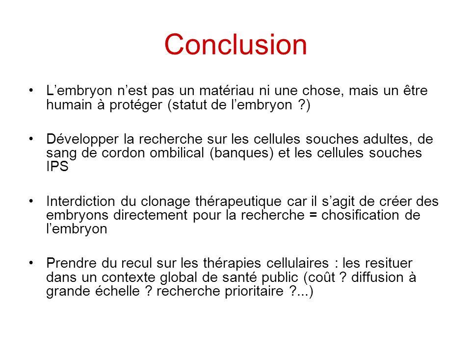 Conclusion Lembryon nest pas un matériau ni une chose, mais un être humain à protéger (statut de lembryon ?) Développer la recherche sur les cellules