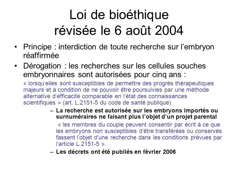 Loi de bioéthique révisée le 6 août 2004 Principe : interdiction de toute recherche sur lembryon réaffirmée Dérogation : les recherches sur les cellul