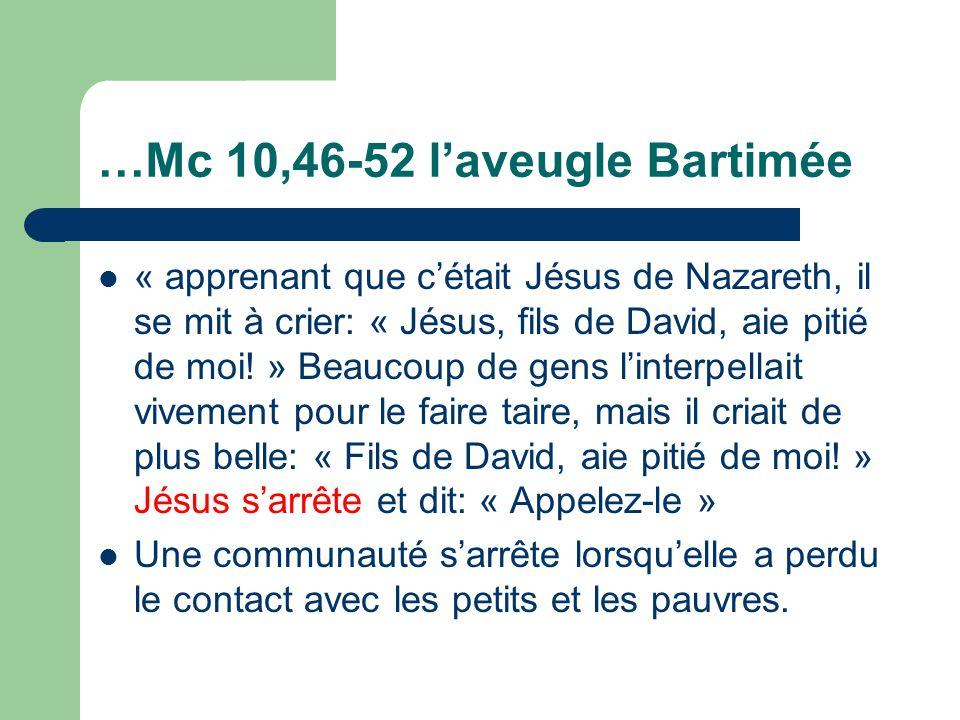 …Mc 10,46-52 laveugle Bartimée « apprenant que cétait Jésus de Nazareth, il se mit à crier: « Jésus, fils de David, aie pitié de moi.