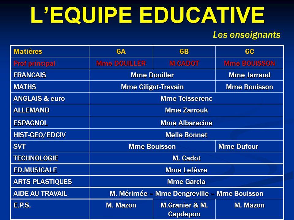 LEQUIPE EDUCATIVE Matières6A6B6C Prof principal Mme DOUILLER M.CADOT Mme BOUISSON FRANCAIS Mme Douiller Mme Jarraud MATHS Mme Ciligot-Travain Mme Boui