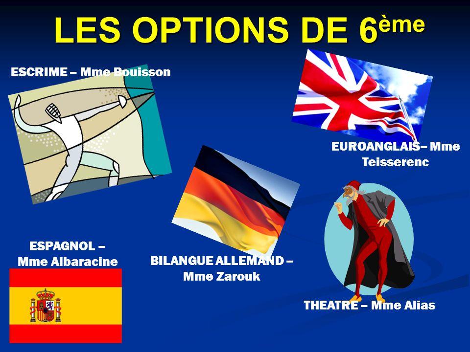LES OPTIONS DE 6 ème ESCRIME – Mme Bouisson THEATRE – Mme Alias EUROANGLAIS– Mme Teisserenc ESPAGNOL – Mme Albaracine BILANGUE ALLEMAND – Mme Zarouk