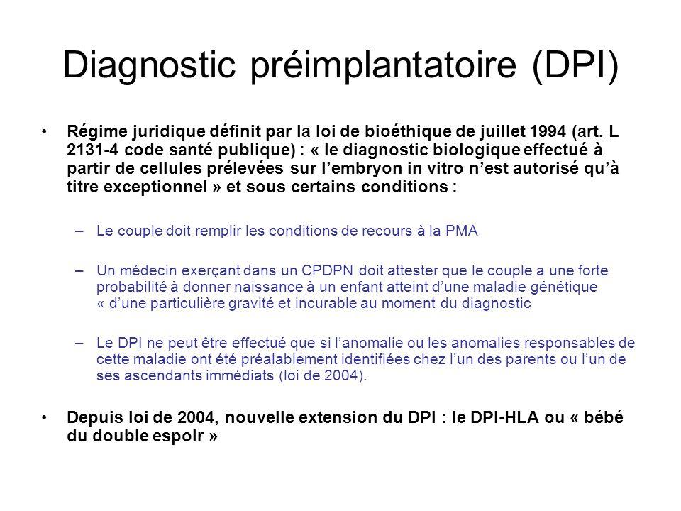 Diagnostic préimplantatoire (DPI) Régime juridique définit par la loi de bioéthique de juillet 1994 (art. L 2131-4 code santé publique) : « le diagnos