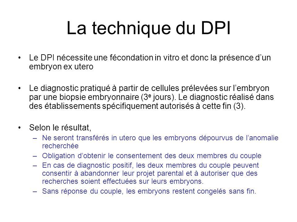 Le DPI en chiffres et ailleurs 342 demandes examinées en 2006 par les CPDPN (77 ont été refusés) : –267 cycles dAMP débutés pour 220 couples.
