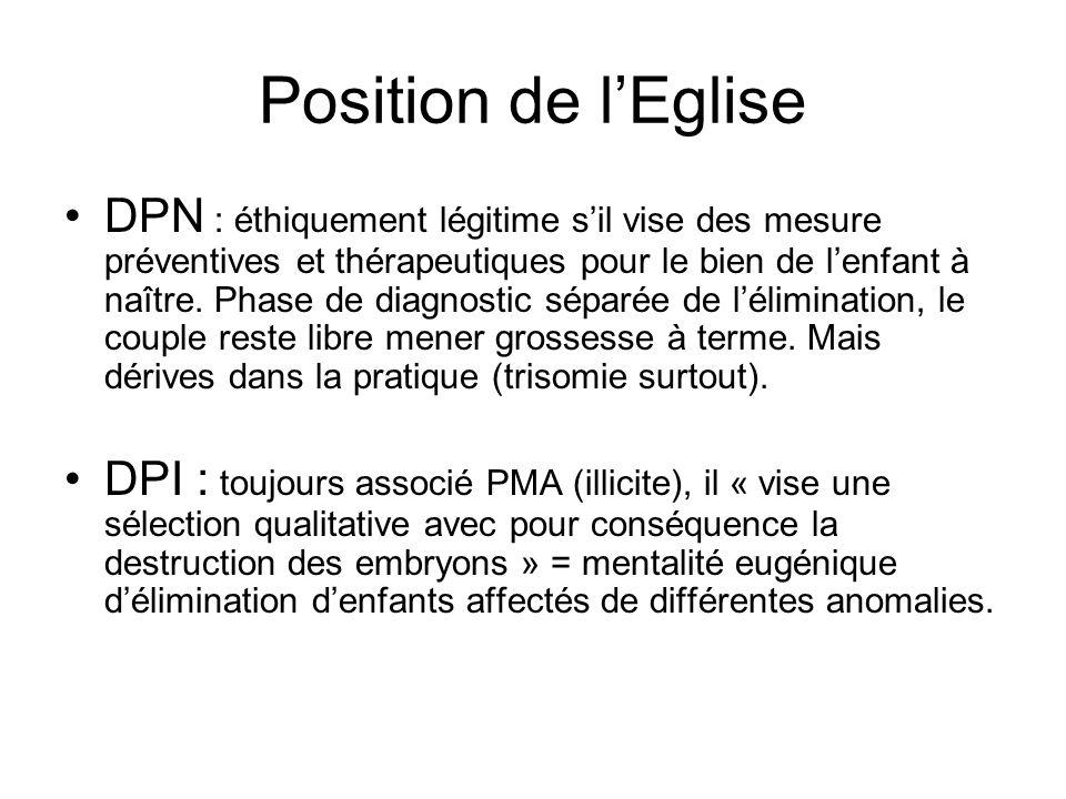 Position de lEglise DPN : éthiquement légitime sil vise des mesure préventives et thérapeutiques pour le bien de lenfant à naître. Phase de diagnostic