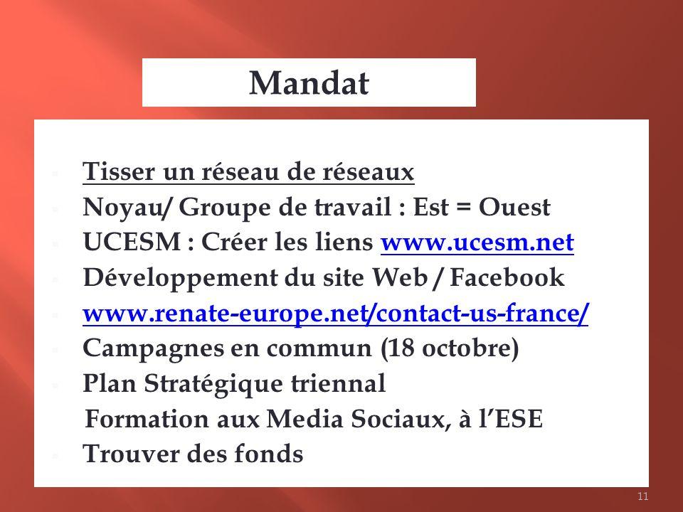 Tisser un réseau de réseaux Noyau/ Groupe de travail : Est = Ouest UCESM : Créer les liens www.ucesm.netwww.ucesm.net Développement du site Web / Face