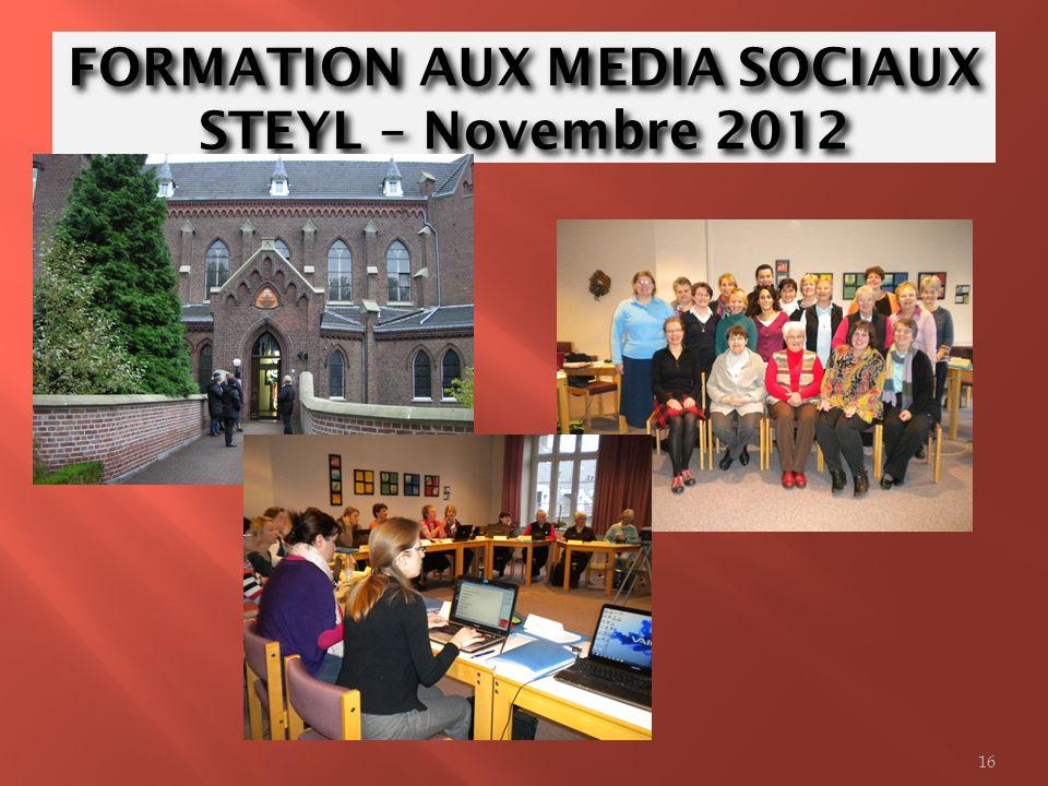 FORMATION AUX MEDIA SOCIAUX STEYL – Novembre 2012 16