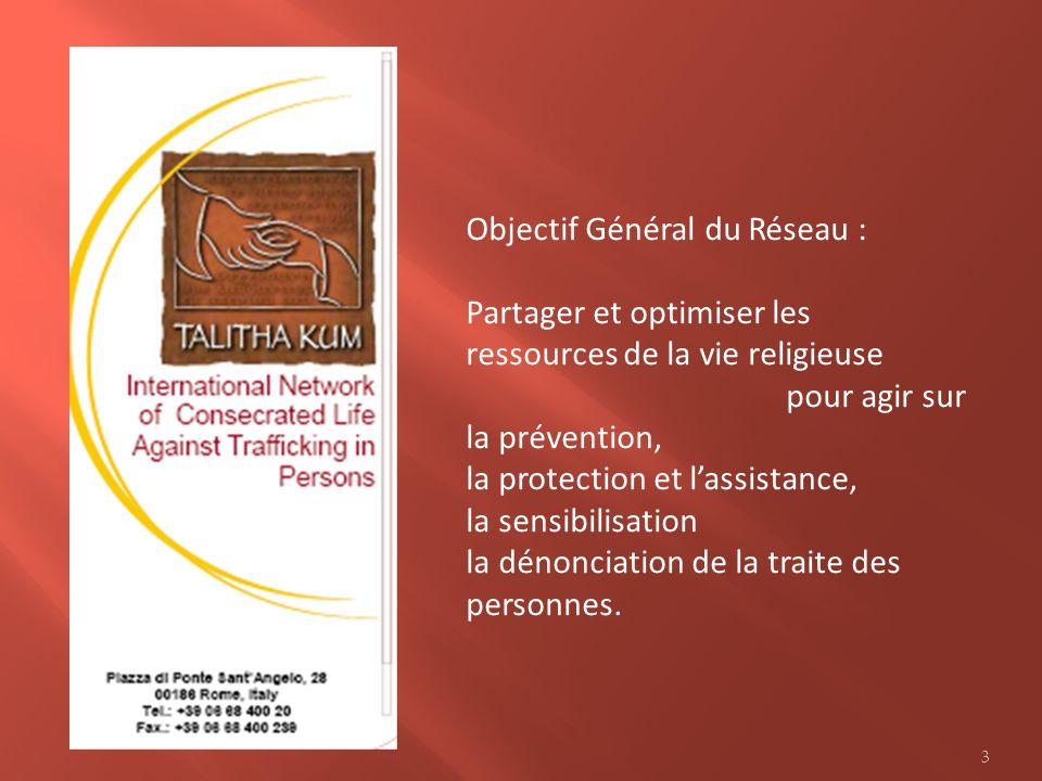 Objectif Général du Réseau : Partager et optimiser les ressources de la vie religieuse pour agir sur la prévention, la protection et lassistance, la s