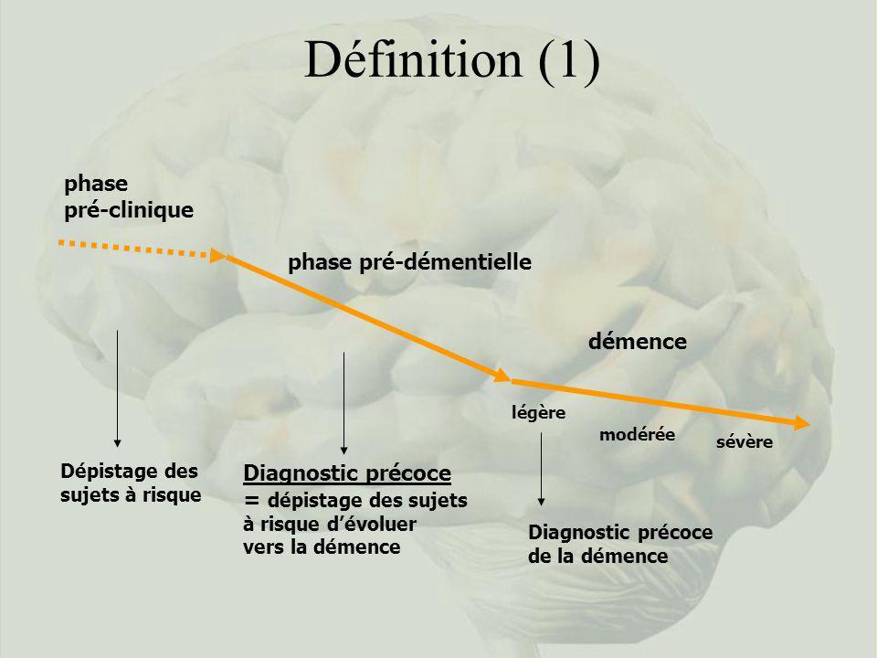 Définition (1) phase pré-clinique phase pré-démentielle démence Dépistage des sujets à risque Diagnostic précoce = dépistage des sujets à risque dévol