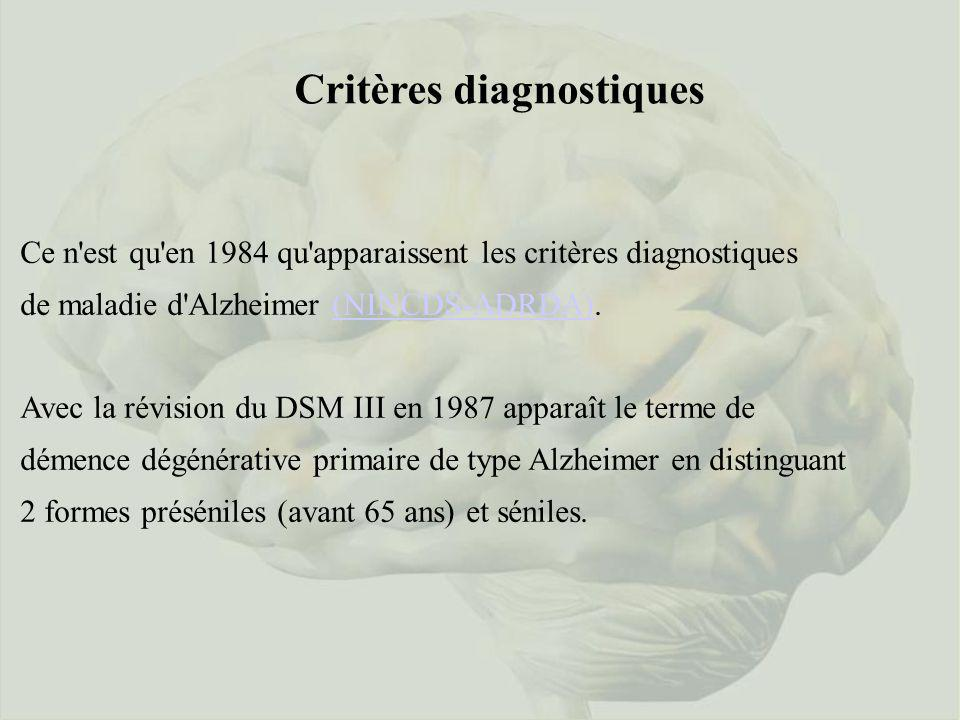 Critères diagnostiques Ce n'est qu'en 1984 qu'apparaissent les critères diagnostiques de maladie d'Alzheimer (NINCDS-ADRDA).(NINCDS-ADRDA) Avec la rév