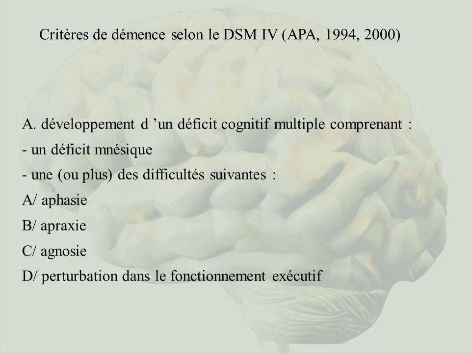 Critères de démence selon le DSM IV (APA, 1994, 2000) A. développement d un déficit cognitif multiple comprenant : - un déficit mnésique - une (ou plu