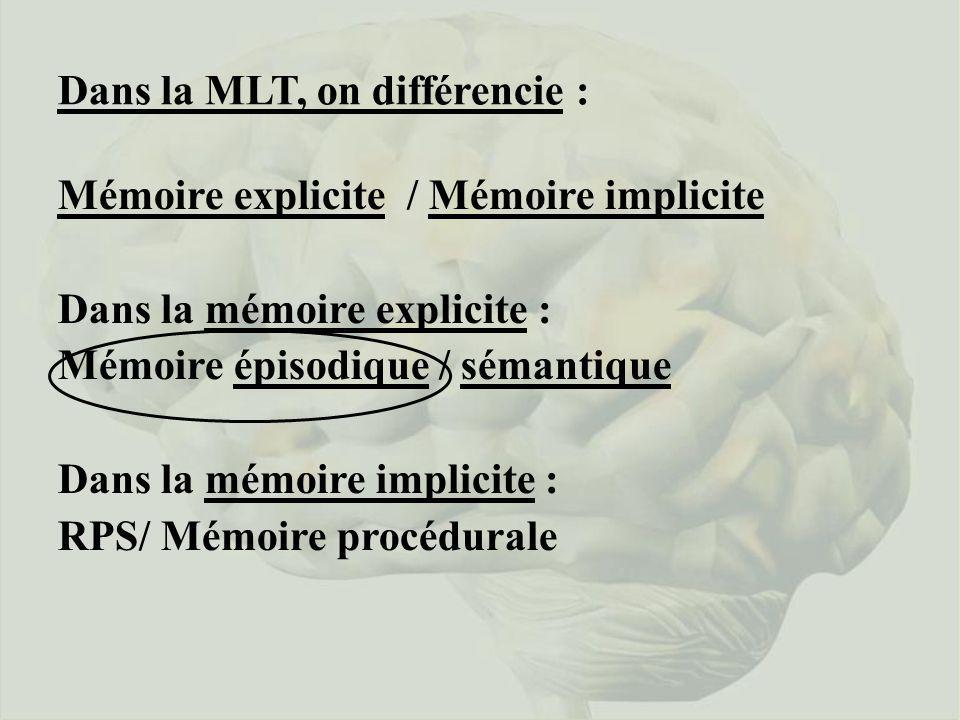 Dans la MLT, on différencie : Mémoire explicite / Mémoire implicite Dans la mémoire explicite : Mémoire épisodique / sémantique Dans la mémoire implic