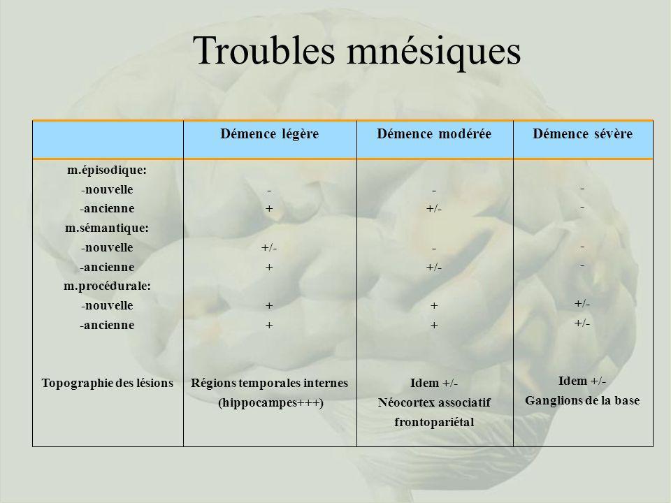 Troubles mnésiques - +/- Idem +/- Ganglions de la base - + +/- + Régions temporales internes (hippocampes+++) - +/- - +/- + Idem +/- Néocortex associatif frontopariétal m.épisodique: -nouvelle -ancienne m.sémantique: -nouvelle -ancienne m.procédurale: -nouvelle -ancienne Topographie des lésions Démence sévèreDémence modéréeDémence légère