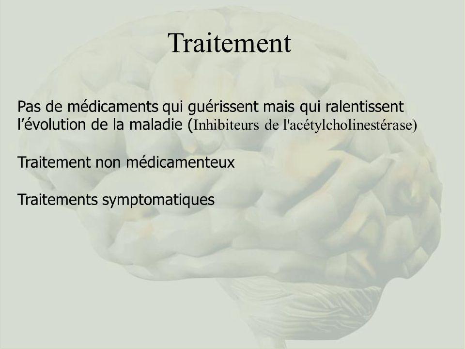 Traitement Pas de médicaments qui guérissent mais qui ralentissent lévolution de la maladie ( Inhibiteurs de l'acétylcholinestérase) Traitement non mé