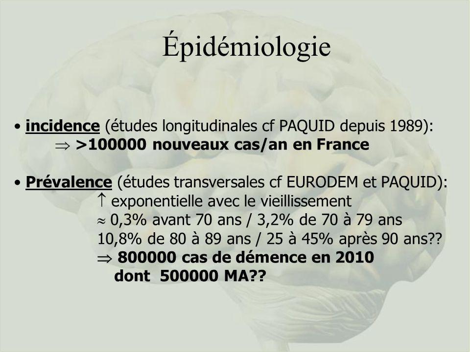 Épidémiologie incidence (études longitudinales cf PAQUID depuis 1989): >100000 nouveaux cas/an en France Prévalence (études transversales cf EURODEM e