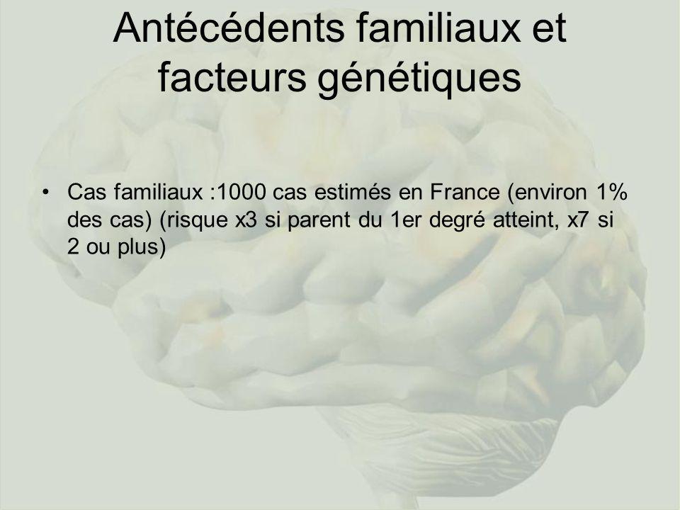 Antécédents familiaux et facteurs génétiques Cas familiaux :1000 cas estimés en France (environ 1% des cas) (risque x3 si parent du 1er degré atteint,