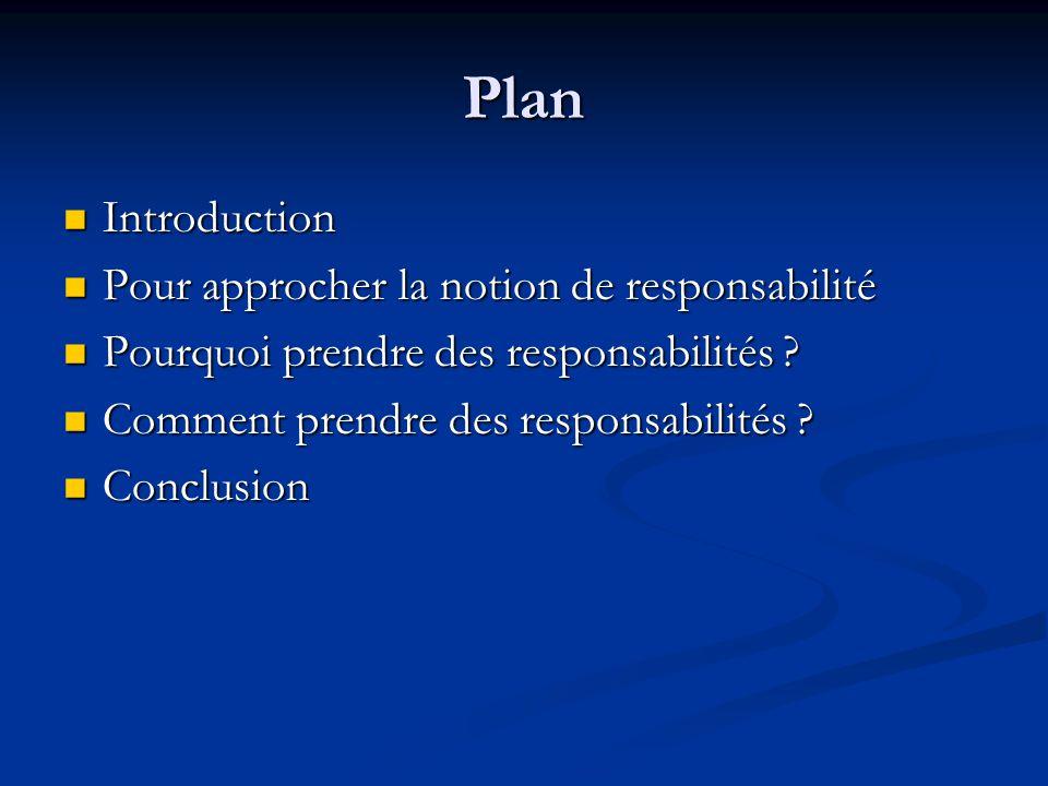 Plan Introduction Introduction Pour approcher la notion de responsabilité Pour approcher la notion de responsabilité Pourquoi prendre des responsabilités .
