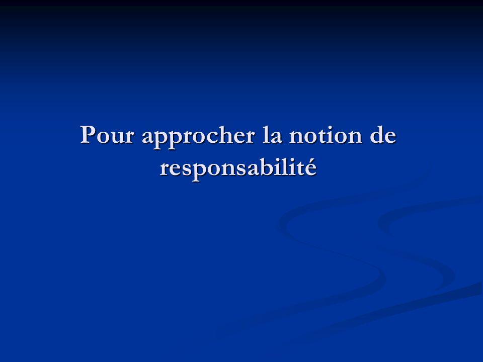 Pour approcher la notion de responsabilité