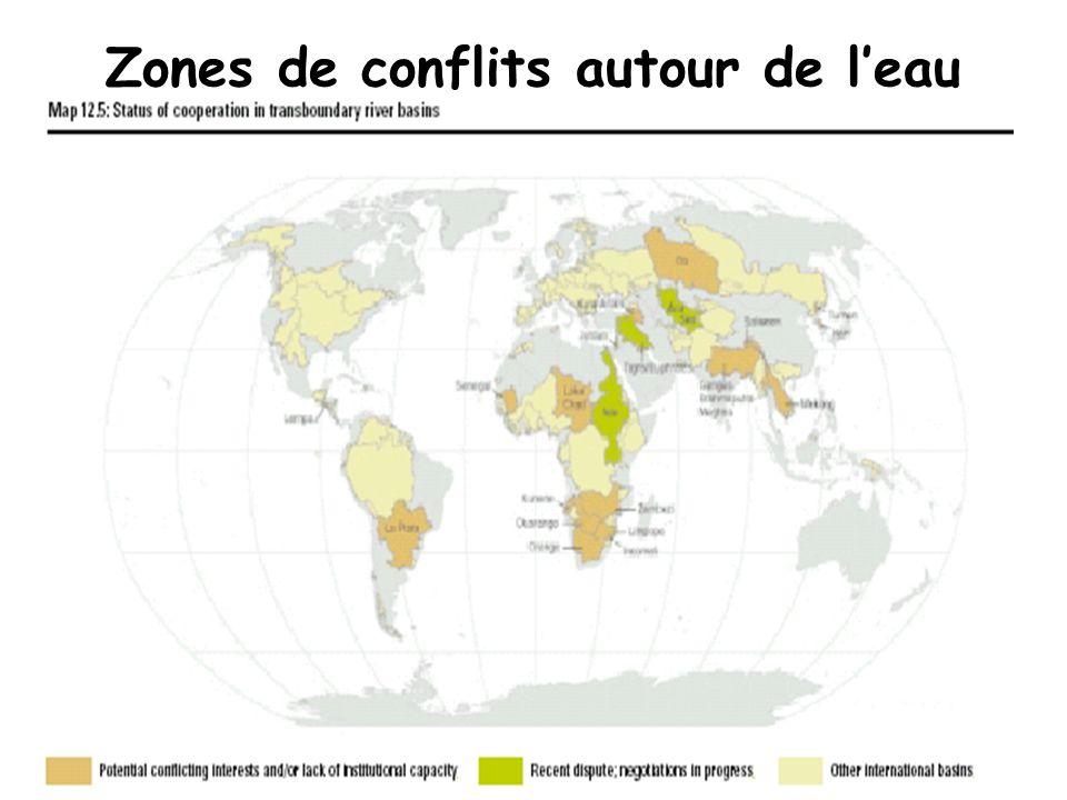Zones de conflits autour de leau