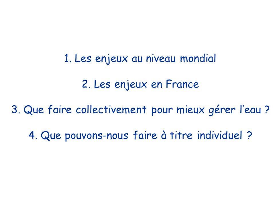 1. Les enjeux au niveau mondial 2. Les enjeux en France 3.