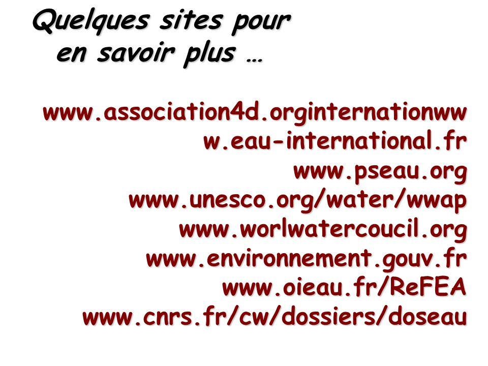 Quelques sites pour en savoir plus … www.association4d.orginternationww w.eau-international.fr www.pseau.orgwww.unesco.org/water/wwapwww.worlwatercoucil.orgwww.environnement.gouv.frwww.oieau.fr/ReFEAwww.cnrs.fr/cw/dossiers/doseau