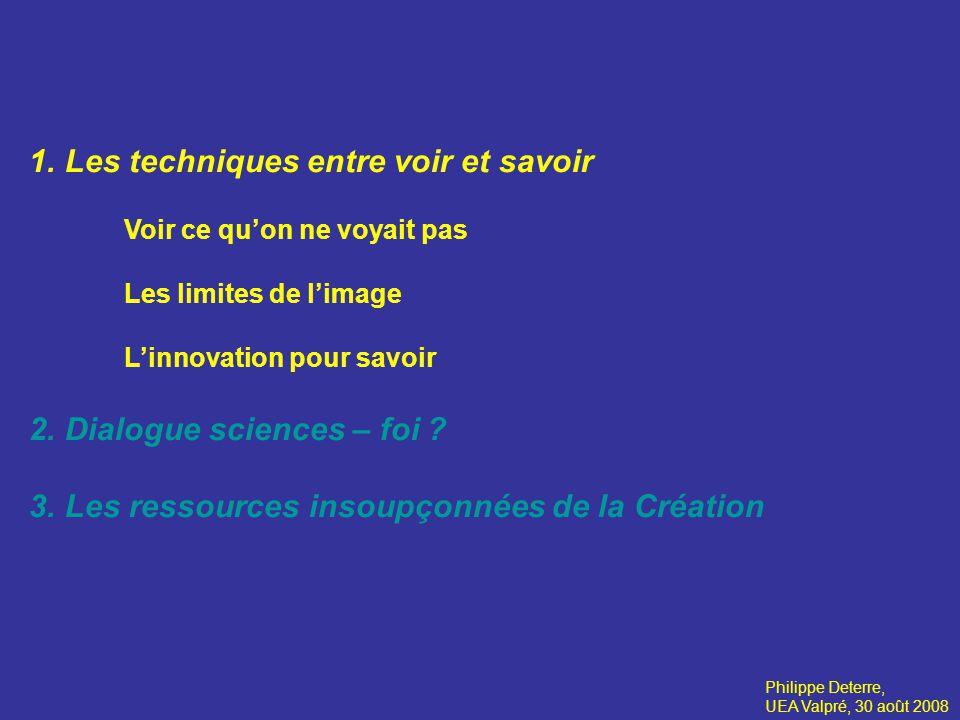 1.Les techniques entre voir et savoir Voir ce quon ne voyait pas Les limites de limage Linnovation pour savoir 2.Dialogue sciences – foi .