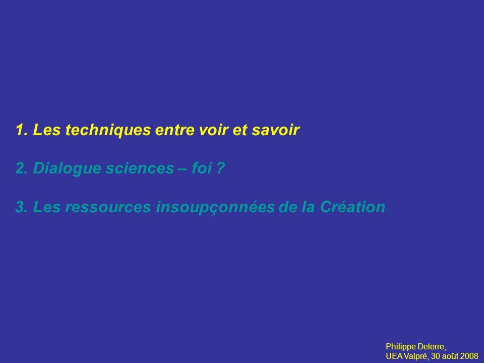 1.Les techniques entre voir et savoir Voir ce quon ne voyait pas 2.Dialogue sciences – foi .