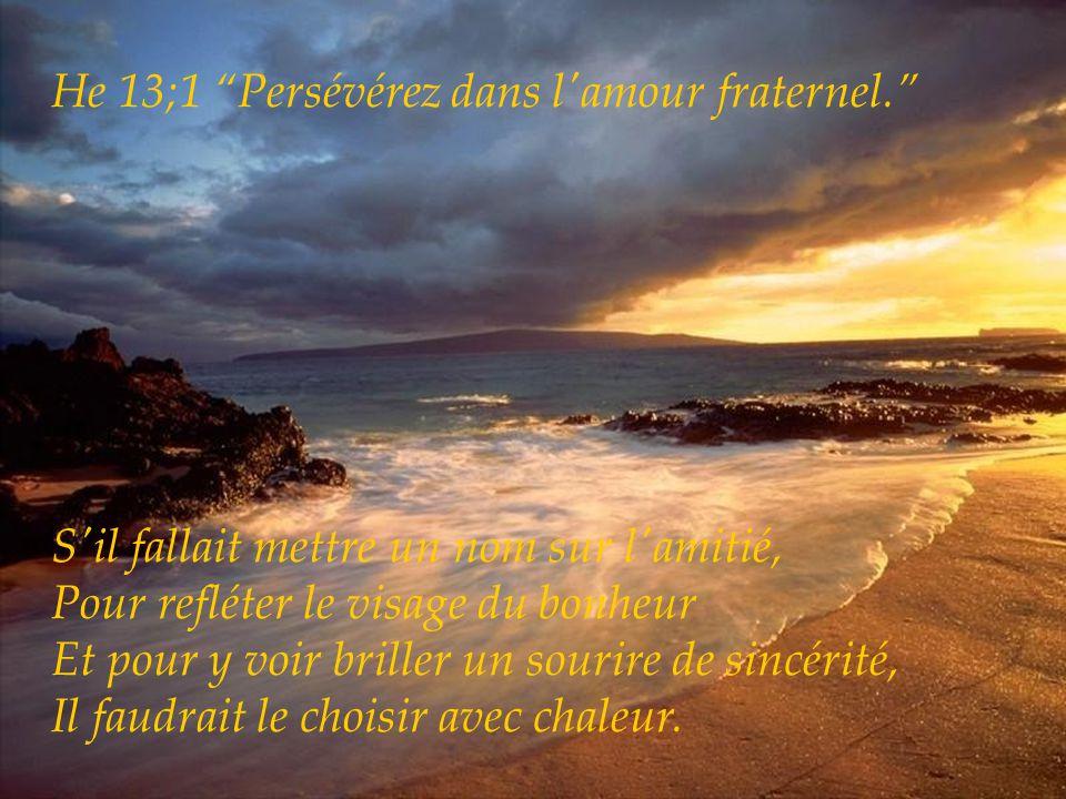 1JN4;8 Dieu est amour. S'il fallait mettre un nom sur l'amitié, Pour lui donner toute sa grandeur Et pour la décrire avec un maximum de vérité, Il fau