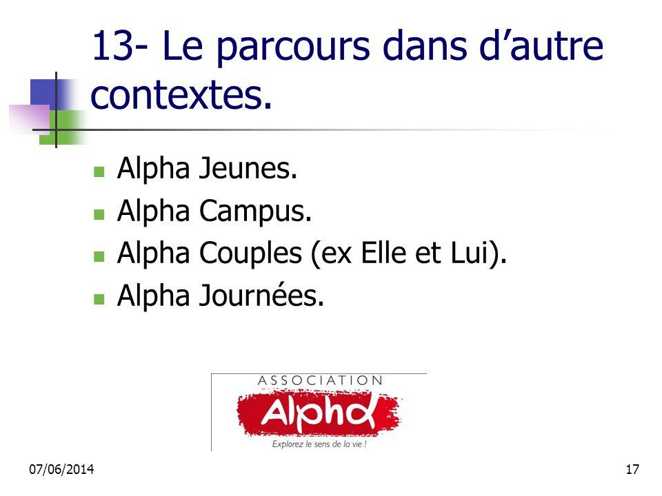 13- Le parcours dans dautre contextes. Alpha Jeunes.