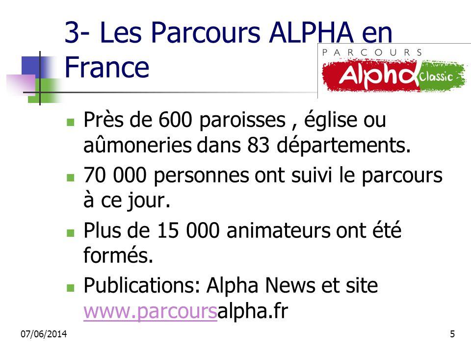 3- Les Parcours ALPHA en France Près de 600 paroisses, église ou aûmoneries dans 83 départements.