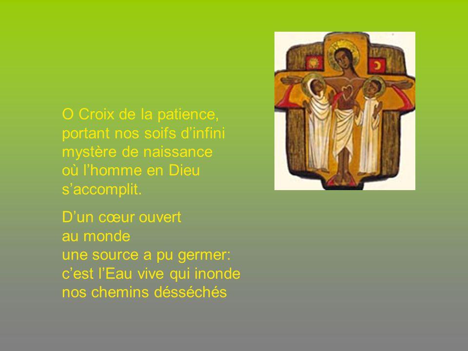 O Croix de la patience, portant nos soifs dinfini mystère de naissance où lhomme en Dieu saccomplit. Dun cœur ouvert au monde une source a pu germer: