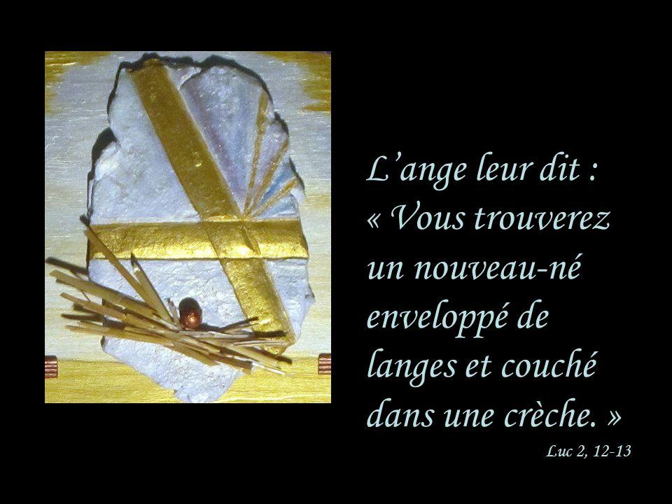 Lange leur dit : « Vous trouverez un nouveau-né enveloppé de langes et couché dans une crèche. » Luc 2, 12-13