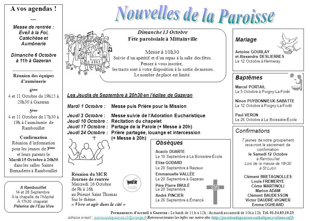 Mariage Antoine GOURLAY et Alexandra DESLIERRES Le 12 Octobre à Hermeray Permanences daccueil à Gazeran : Le lundi de 11 h à 12h ; du mardi au samedi