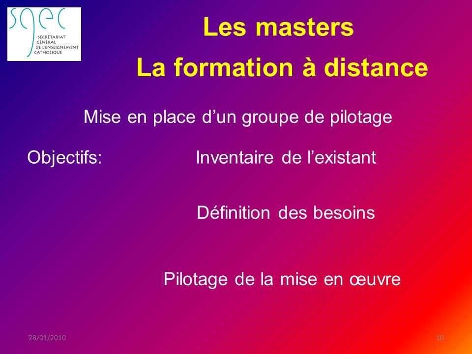 Les masters 1028/01/2010 Objectifs: La formation à distance Inventaire de lexistant Mise en place dun groupe de pilotage Définition des besoins Pilotage de la mise en œuvre