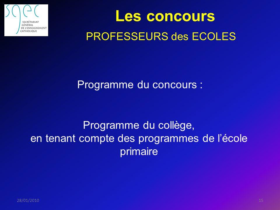 Les concours 1528/01/2010 PROFESSEURS des ECOLES Programme du concours : Programme du collège, en tenant compte des programmes de lécole primaire