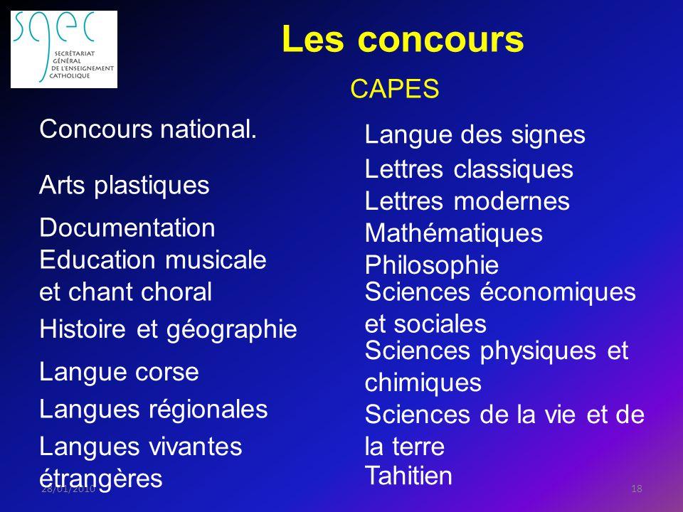 Les concours 1828/01/2010 CAPES Concours national.