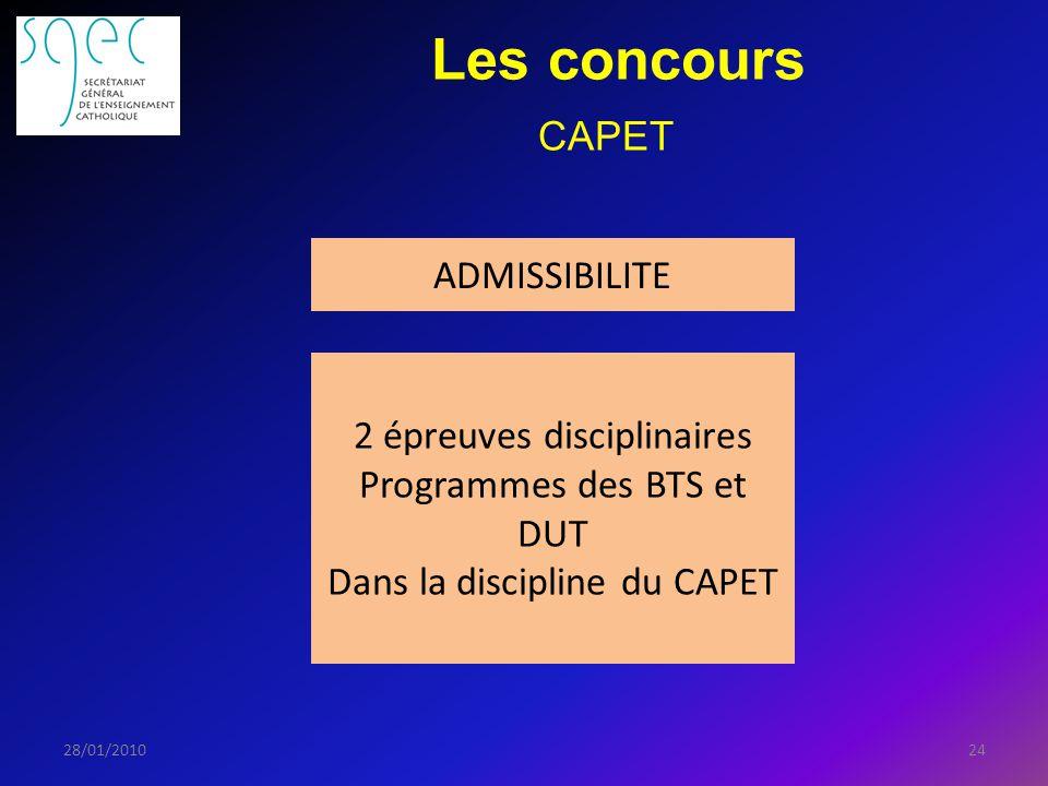 Les concours 2428/01/2010 ADMISSIBILITE 2 épreuves disciplinaires Programmes des BTS et DUT Dans la discipline du CAPET CAPET