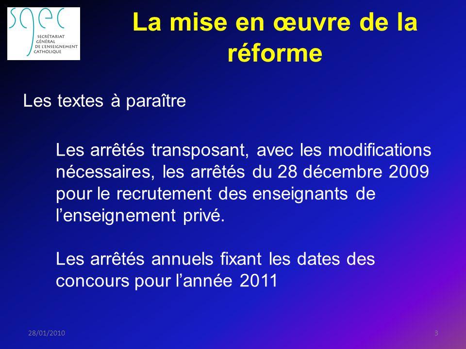 La mise en œuvre de la réforme 328/01/2010 Les textes à paraître Les arrêtés transposant, avec les modifications nécessaires, les arrêtés du 28 décembre 2009 pour le recrutement des enseignants de lenseignement privé.