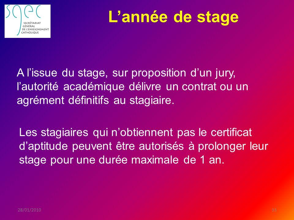 Lannée de stage 3328/01/2010 A lissue du stage, sur proposition dun jury, lautorité académique délivre un contrat ou un agrément définitifs au stagiaire.