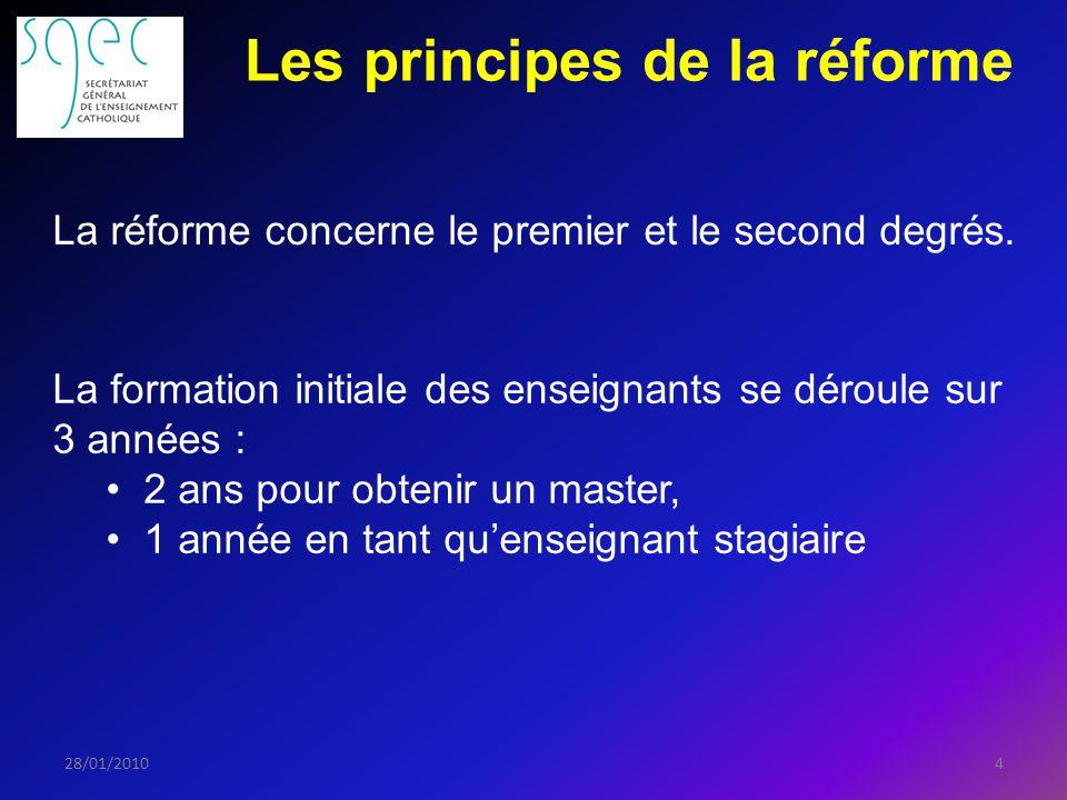 Les principes de la réforme 428/01/2010 La réforme concerne le premier et le second degrés.