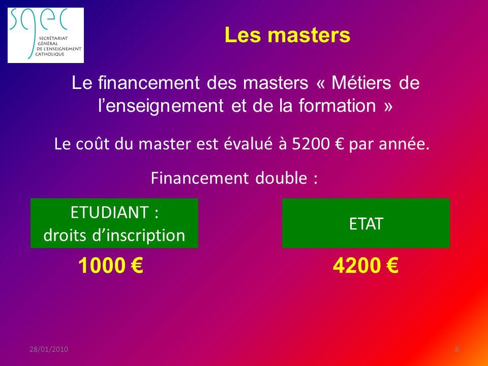 Les masters 828/01/2010 Financement double : Le coût du master est évalué à 5200 par année.