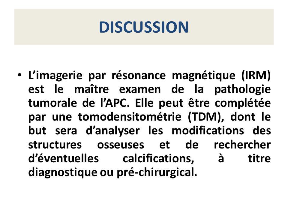 DISCUSSION Limagerie par résonance magnétique (IRM) est le maître examen de la pathologie tumorale de lAPC. Elle peut être complétée par une tomodensi