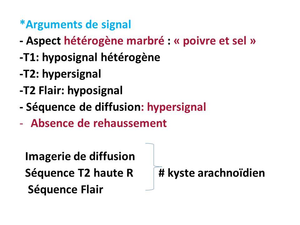 *Arguments de signal - Aspect hétérogène marbré : « poivre et sel » -T1: hyposignal hétérogène -T2: hypersignal -T2 Flair: hyposignal - Séquence de di