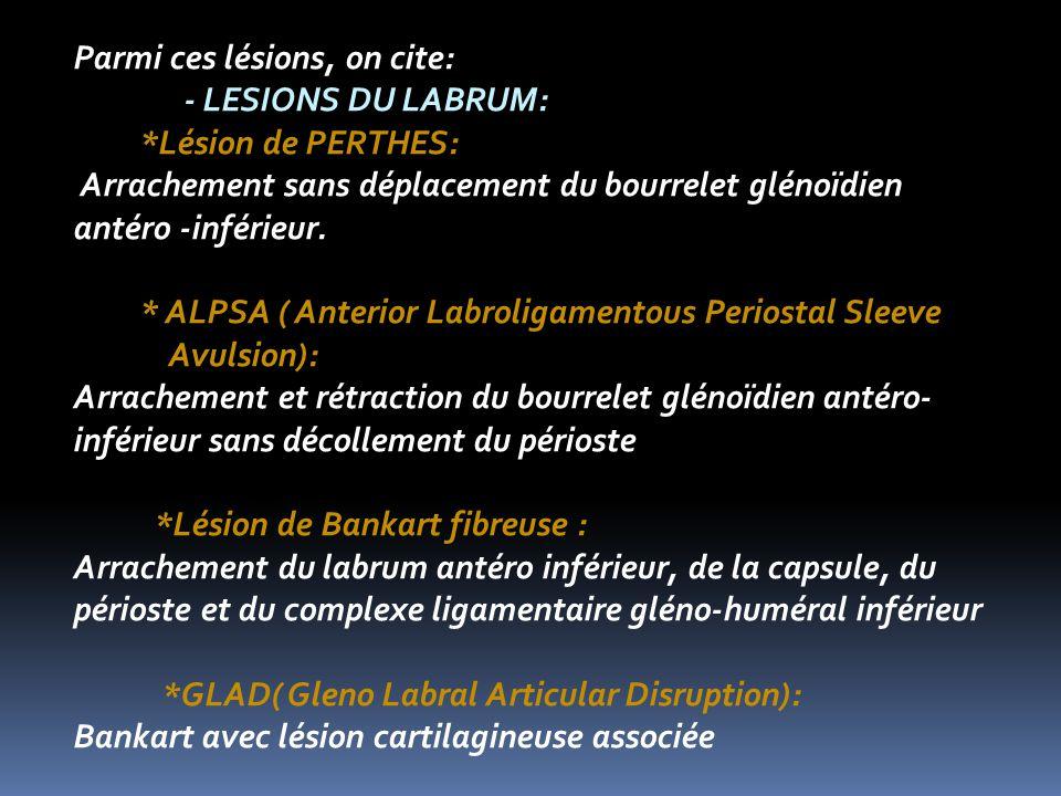 Parmi ces lésions, on cite: - LESIONS DU LABRUM: *Lésion de PERTHES: Arrachement sans déplacement du bourrelet glénoïdien antéro -inférieur.