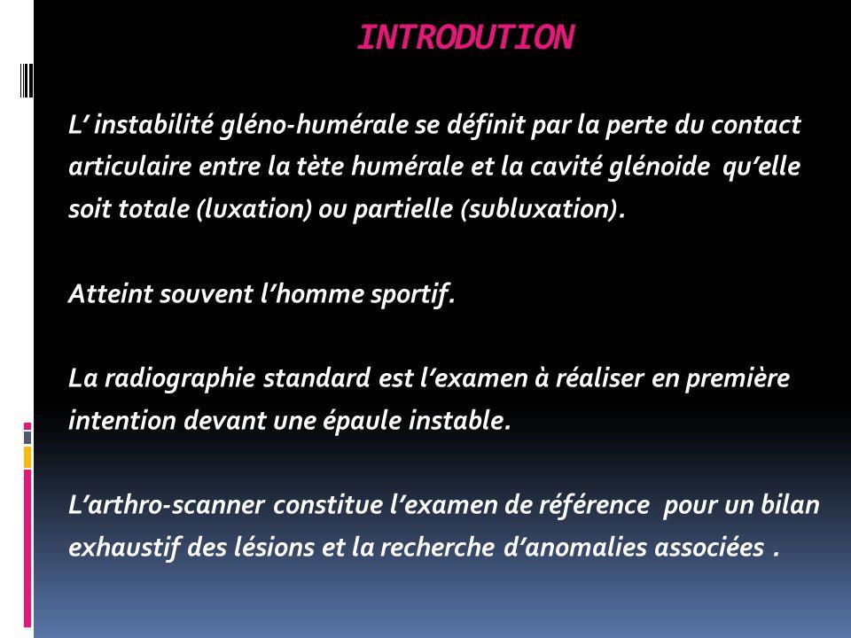 INTRODUTION L instabilité gléno-humérale se définit par la perte du contact articulaire entre la tète humérale et la cavité glénoide quelle soit totale (luxation) ou partielle (subluxation).