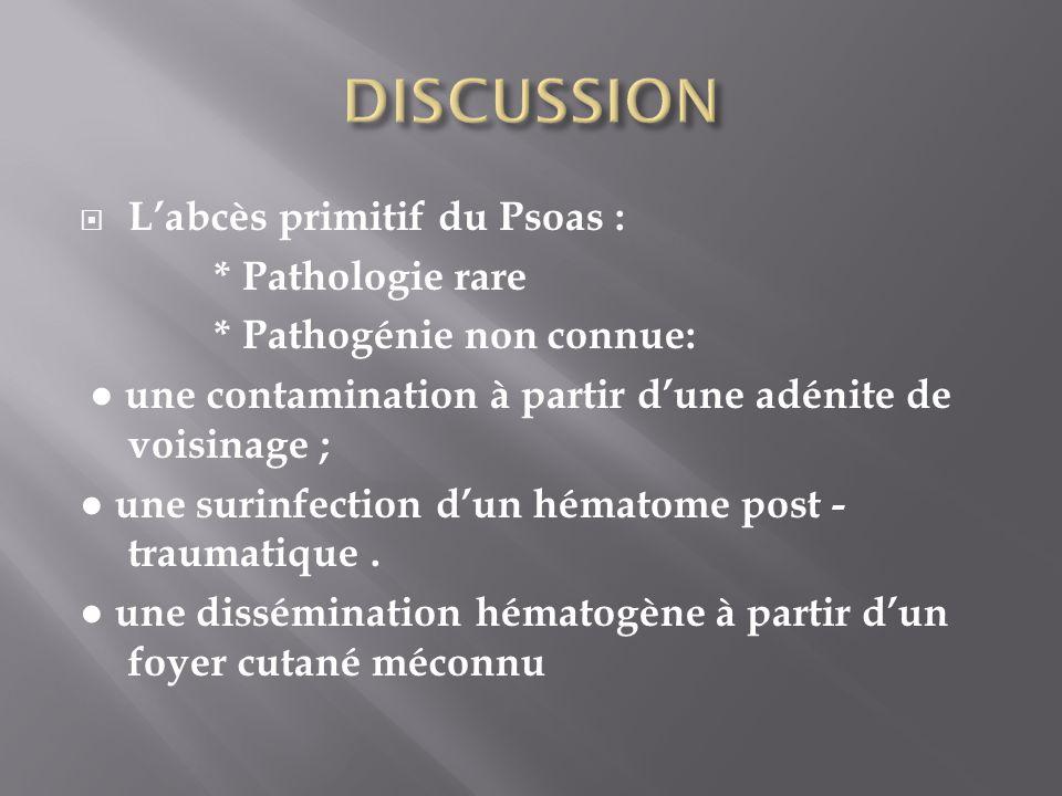 Labcès primitif du Psoas : * Pathologie rare * Pathogénie non connue: une contamination à partir dune adénite de voisinage ; une surinfection dun héma