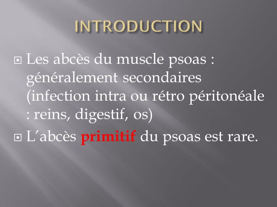 Les abcès du muscle psoas : généralement secondaires (infection intra ou rétro péritonéale : reins, digestif, os) Labcès primitif du psoas est rare.