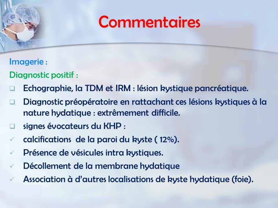Commentaires Imagerie : Diagnostic positif : Echographie, la TDM et IRM : lésion kystique pancréatique.