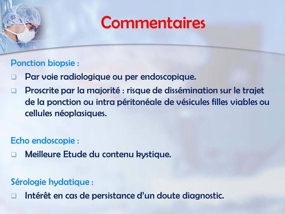 Commentaires Ponction biopsie : Par voie radiologique ou per endoscopique.
